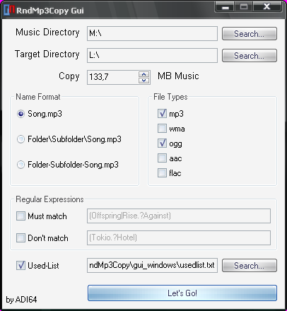 RndMp3Copy Windows GUI